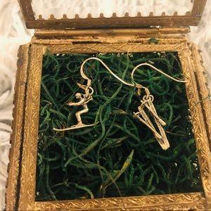 Sterling Silver Skiing Earrings